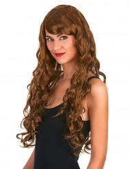 Parrucca glamour castana lunga con riccioli donna
