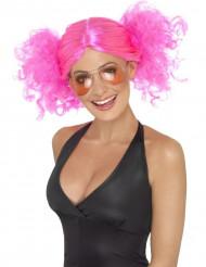 Parrucca rosa fluorescente con codini donna
