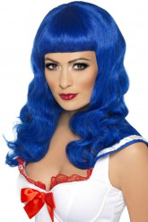 Parrucca lunga blu con frangia donna