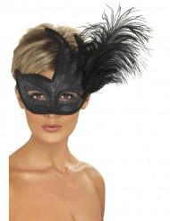 Maschera nera con brillantini argentati e piume per adulto