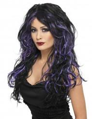 Parrucca nera e viola donna