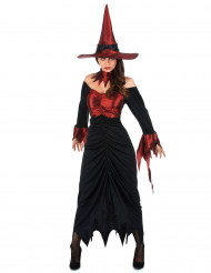 Costume da strega con colletto rosso per donna
