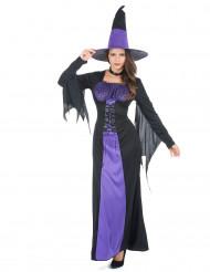 Costume da strega nero e viola donna Halloween