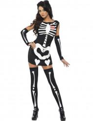 Costume corto da scheletro sexy donna Halloween