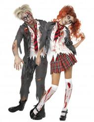 Costumi da coppia di scolari zombie Halloween