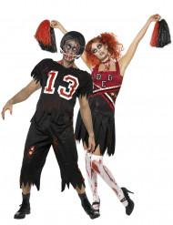 Costumi da coppia di giocatore di football americano e ragazza pon-pon zombie Halloween