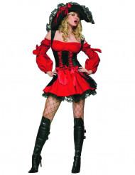 Costume da piratatessa rosso e nero per donna