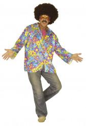 Camicia Floreale Hippy blu adulto