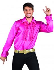 Camicia disco rosa con ruches da uomo