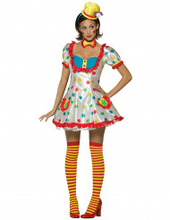 Costume clown donna con calze gialle e rosse