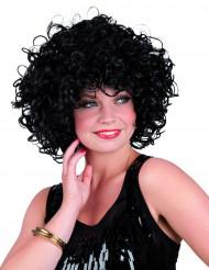 Parrucca riccia corta e nera donna