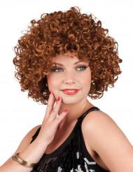 Parrucca riccia marrone e corta donna