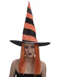 Parrucca strega arancione donna Halloween