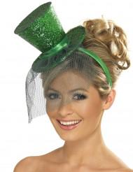Mini cappello a cilindro verde a paillettes con veletta