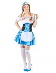 Costume da bavarese bianco e azzurro per donna