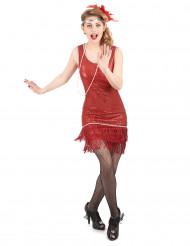 Costume Charleston rosso con paillettes per donna
