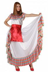 Costume messicano bianco e rosso per donna