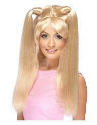 Parrucca lunga con codini donna