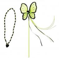 Bacchetta e collana da principessa verde