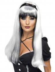 Parrucca bianca e nera lunga donna