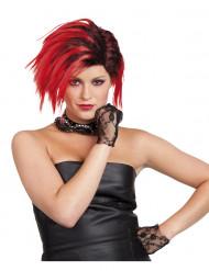 Parrucca punk corta rossa donna