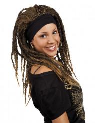 Parrucca castana rasta con fascia donna