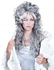 Parrucca ondulata lunga grigia donna