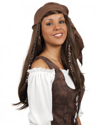 Parrucca lunga castana da pirata con bandana donna