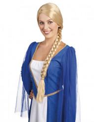Parrucca bionda medievale con treccia donna