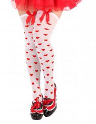 Calze bianche a cuori rossi donna