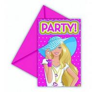6 biglietti invito Barbie Dollicious™