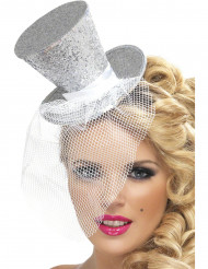 Mini cappello a cilindro argento donna
