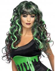 Parrucca da sirena verde e nera donna
