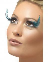 Ciglia finte con piume blu adulto per donna