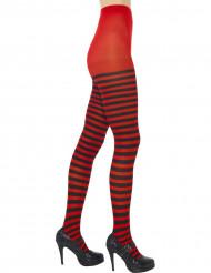 Collant a righe nere e rosse donna