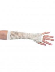 Mezzi guanti a rete bianchi adulto