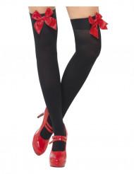 Calze nere con fiocchetti rossi adulti