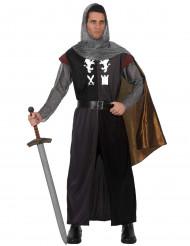 Costume cavaliere medievale con cappa metallizzata