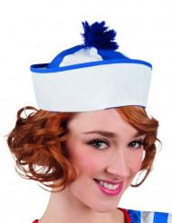 Cappello da marinaio con pompon blu per adulto
