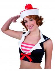 Cappello da marinaio con pompon rosso per adulto