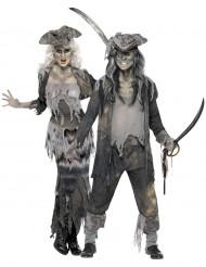 Costume di coppia di pirati fantasma spaventosi per Halloween