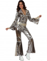 Costume tuta disco argentata donna