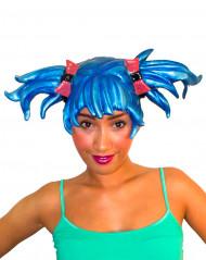 Parrucca manga blu adulto donna
