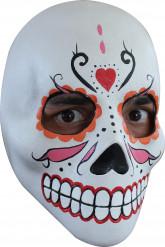 Maschera viso scheletrico colorato adulto Dia de los muertos Halloween