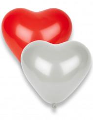 8 palloncini cuori rossi e bianchi