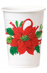 8 Bicchieri plastica stella di Natale rossa