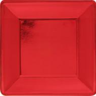 8 piatti quadrati rossi