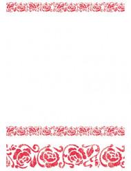 Tovaglia con arabeschi rossi