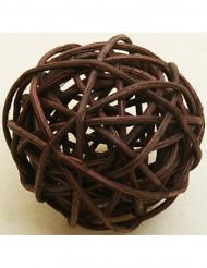 6 palle di vimini marroni 3.5 cm