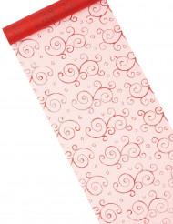 Image of banner da tavola rosso in organza: decori arabeschi paillettes